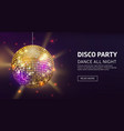 disco banner mirrorball party disco ball vector image