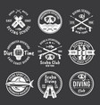 diving spearfishing white labels on dark vector image vector image