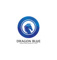 dragon blue logo with low poly style vector image vector image