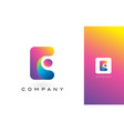 e logo letter with rainbow vibrant beautiful vector image vector image