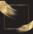 elegant background with gold frame and brush vector image vector image