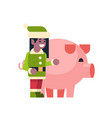 elf girl santa claus helper with pig merry vector image