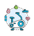 exercise mashine with healthy tolls icons vector image vector image