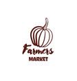 farmers market pumpkin monochrome emblem vector image vector image