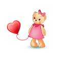 female teddy bear with balloon vector image