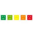 five squared feedback buttons different colors vector image