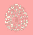 flat outline easter and spring icons vector image vector image