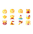 halloween celebration icon set template vector image