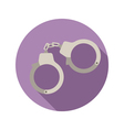 Handcuffs flat style icon on round badge vector image