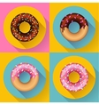Icon Set Cute sweet colorful chocolate donuts vector image vector image
