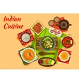 Indian cuisine menu with dishes and desserts vector image vector image