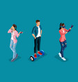 isometric 3d teenagers using hi tech gadgets vector image vector image