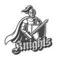 monochrome brave knight label vector image vector image