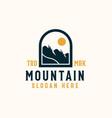 mountain lineart badge logo template vector image vector image