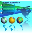 North America map on blue background vector image vector image