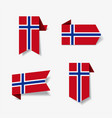 norwegian flag stickers and labels vector image
