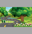 park scene with empty road vector image vector image