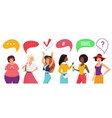 people communicate with chat message bubble above vector image