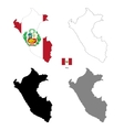 Peru country black silhouette and with flag on vector image vector image