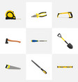 realistic arm-saw hatchet hacksaw and other vector image vector image