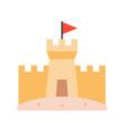 sand castle on beach flat design icon vector image vector image