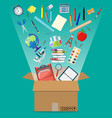 school items and cardboard box vector image vector image