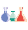science laboratory flasks vector image