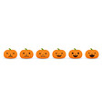 set of halloween pumpkins funny and scary facial vector image vector image