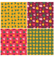 set of seamless colorful pattern with kettle vector image