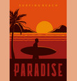surfing beach paradise poster in vintage vector image vector image