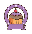 sweet cupcake emblem with ribbon vector image vector image
