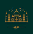 taj mahal line art agra india vector image