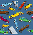 vehicle collection sealess pattern urban vector image