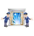vip doormen and entrance door vector image vector image