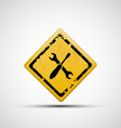 Yellow sign with wrench and screwdriver vector image vector image