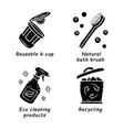 zero waste swaps handmade glyph icons set vector image vector image