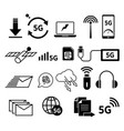 5g internet isolated icons speedy network vector image