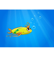 A yellow fish swimming under the sea vector image vector image