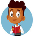 african boy holding textbook studying for exams vector image