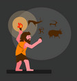 ancient human drawing in cave flat vector image vector image