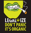 banner for legalize marijuana with a smoking mouth vector image
