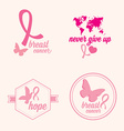 breast cancer set stickers pink ribbon icon vector image