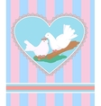 Card with cartoon couple of white doves in love vector image vector image