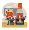 cartoon blacksmith with a hammer vector image vector image