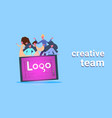 casual people group on tablet with logo creative vector image vector image