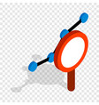 chart through a magnifying glass isometric icon vector image vector image