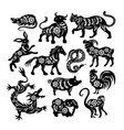 chinese black zodiac figures of sacred animals vector image