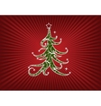 Christmas Tree On A Red Stripes Background vector image vector image