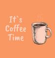 coffee color hand drawn sketch cup vector image