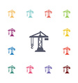 construction crane flat icons set vector image vector image
